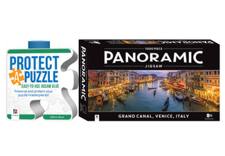 Panoramic 1000-Piece Jigsaw incl. Glue - Three Designs Available