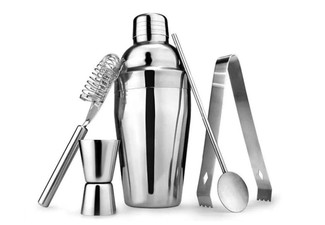 Five-Piece Stainless Steel Cocktail Maker Set - Option for Two with Free Delivery