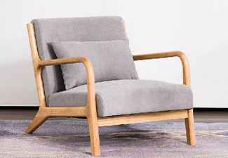 Classic Retro Lounge Armchair with Wood Accents