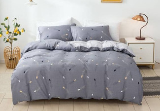 Three-Piece Cotton Duvet Cover Set in Wheat Ear Blue - Three Sizes Available