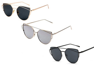 One Pair of Cat Eye Mirrored Sunglasses - Seven Colours Available