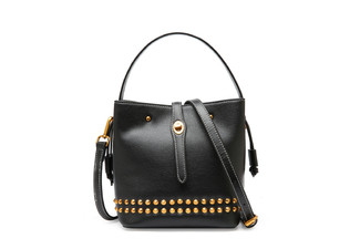 Leather Studded Shoulder Handbag - Four Colours Available