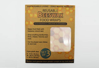 Set of Three Reusable Beeswax Food Wraps