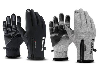 Water-Resistant & Windproof Pair of Gloves Compatible with Touch Screens - Three Sizes & Two Colours Available