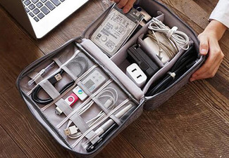 Charging Cable Travel Organiser Bag - Five Colours Available & Option for Two with Free Delivery