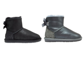 Auzland Women's 'Selena' Nappa Mini Ribbon UGG Boots - Two Colours Available