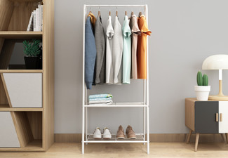 Entryway Clothes Rack with Two-Tier Metal Shelf - Option for Two