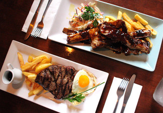 Two Steaks or Ribs Mains For Two People - Options for up to Six People & to incl. Shared Entree