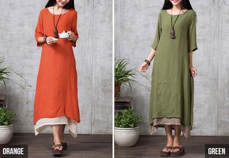 $32 for a Plus-Size Double Layer Linen Dress