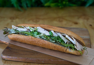 Gourmet Lunch on the Run Combo - Options for a Baguette or Salad, Your Choice of Coffee or Drink & Muffin or Slice