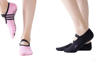 One Pair of Anti-Slip Yoga Ballet Socks - Two Colours Available & Option for Two Pairs