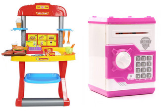 Kid's Fast Food Restaurant Play Set or Electronic Locker Money Safe - North Island Only