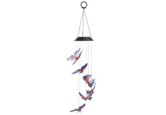 Butterfly Wind Chime with Solar-Powered LED Light - Option for Two or Three