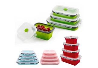 Silicone Collapsible Food Box - Four Colours & Four Sizes Available & Options for Three- or Four-Pack