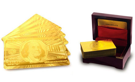 $34 for a Full Set of 24K Gold Plated Standard Sized Playing Cards