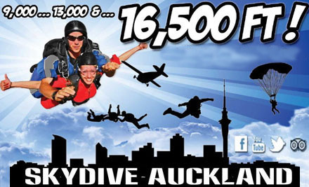 Up to 40% off a Tandem Skydive incl. Two $50 Vouchers (value up to $425)