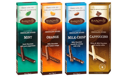 $13 for Four Boxes of Baronie Belgian Chocolate Sticks