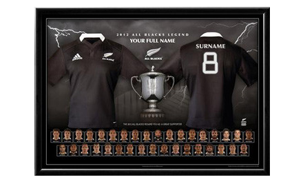 From $35 for a Personalised Rugby World Cup 2011 All Blacks Champions, 2012 All Blacks or Super Rugby Jersey Print incl. Nationwide Delivery (value up to $180)