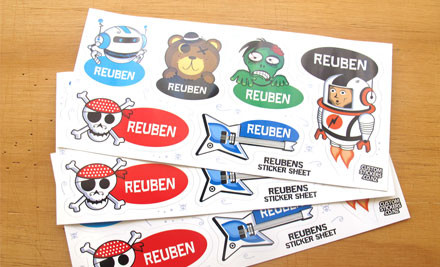 $13 for Four Sheets of Custom Named Boy or Girl Stickers incl. Delivery (value $33)