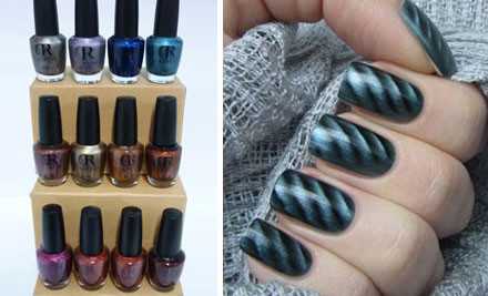$25 for Six 15ml Magnetic Nail Polishes & Three Magnets or $49 for 12 15ml Magnetic Nail Polishes & Three Magnets