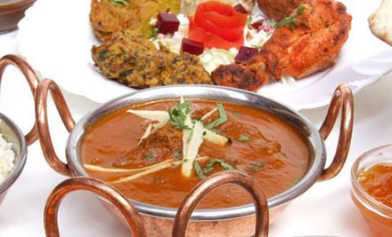 $32 for Two Mains, Shared Entree Platter & Two Garlic Naans (value up to $64)