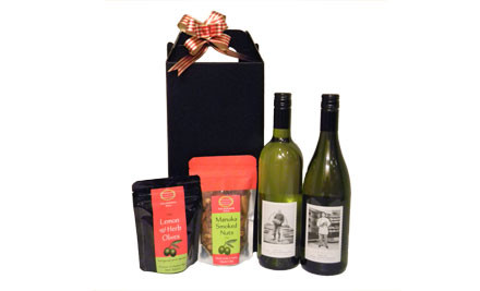 $55 for a Ngatarawa Wine Christmas Gift Hamper incl. Two Bottles of Wine, 150g Olives & 175g Manuka Smoked Nuts (value $95)