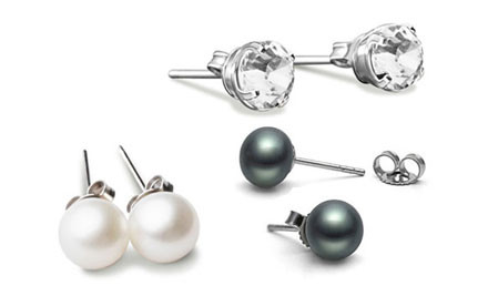 $10 for Two Pairs of AAA-Grade Freshwater Pearl Earrings in Black & White, & a Pair of 18k White Gold Plated Crystal Earrings incl. Nationwide Delivery