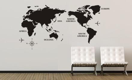World Map Wall Decal GrabOne - Wall decals nz