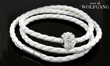 $17 for One or $30 for Two Leather Braided Bracelets with a White Gold Plated Charm & 30 Swarovski Elements Crystals - Choose from Black or White incl. Nationwide Delivery