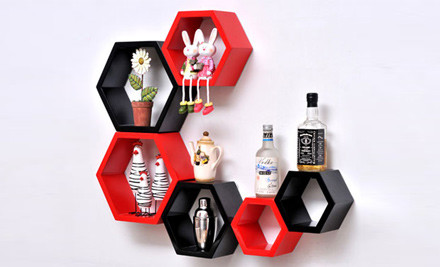 $55 for a Set of Hexagonal Wall Shelves