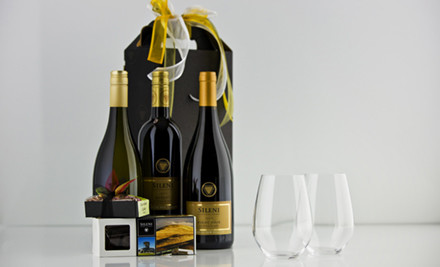 $55 for an Ultimate Indulgence Gift Box incl. One Bottle of Sileni Exceptional Vintage Wine & Two Spiegelau Bordeaux Stemless Wine Glasses, Sileni Chocolate Selection Box & Wild Walnut Dundee Cake (value $110).