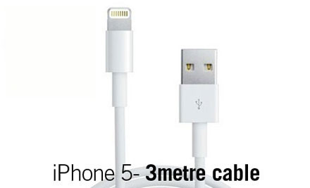 $11 for a Three-Metre Charging/Data Syncing Cable for iPhone 5, iPad, iPad Mini & iPod Touch 5th Gen