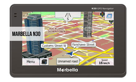 """$119 for a 4.3"""" Widescreen High Resolution Marbella Touch Screen GPS incl. Free Case, Free Map Updates for Life & Nationwide Delivery"""