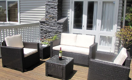 $829 for a Deluxe Corner Design or Five-Piece Outdoor Rattan Furniture Suite
