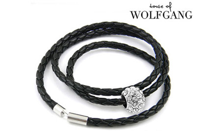 $13 for One Leather Braided Bracelet with White Gold Plated Charm & 30 Swarovski Elements Crystals or $23 for Two - Choose from Black or White