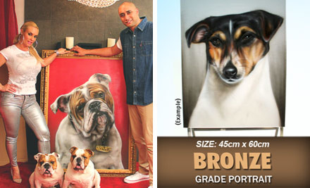 "$599 for an Original Bronze Grade Spray Painted Dog Portrait of Your Dog by Graham ""Mr G"" Hoete (value $1,000)"