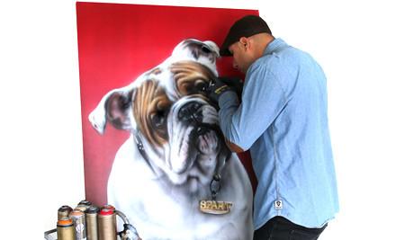 "$599 for an Original Bronze Grade Spray Painted Dog Portrait of Your Dog by Graham ""Mr G"" Hoete (value $1,000)"