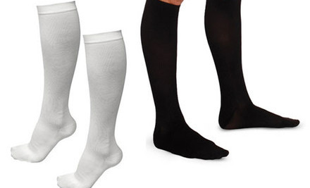 $15 for Two  Pairs of Travel Compression Socks in Black or White