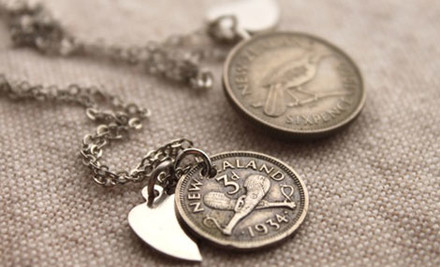$20 for a NZ Threepence Vintage Necklace or NZ Sixpence Necklace (value $47.50)