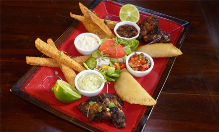 $38 for a Caribbean Tasting Platter for Two incl. Two Glasses of Wine or Craft Beer (value $75)