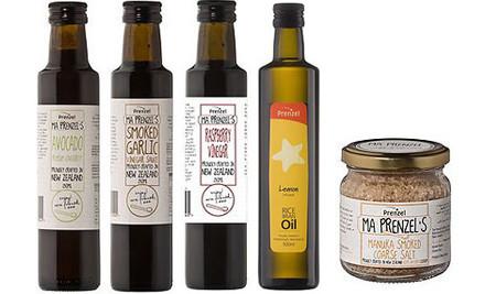 $60 for a Condiments Gift Pack, incl. Avocado Vinegar, Smoked Garlic Sauce, Lemon RBO, Raspberry Vinegar, & Manuka Salt (value $87)