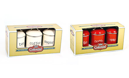 $32 for Coffee, Tea & Sugar Canisters in a Choice of Red or Cream (value $57.90)