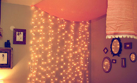 $55 for a 240 LED Solar Powered Fairy Light Curtain in 1 of 5 Colours incl. Nationwide Delivery