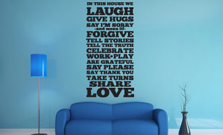 """From $20 for """"In This House"""" Quotes Wall Decal"""