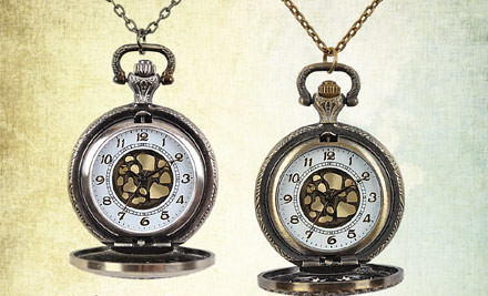 $20 for a Vintage Style Fob Watch Necklace in Silver or Gold Colour incl. Nationwide Delivery (value $125)