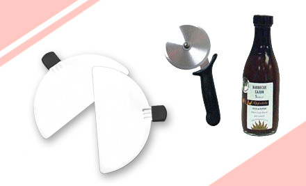 $159 for Pizza Maker, Metal Paddle, Pizza Cutter & Wild Appetite Cajun BBQ Sauce (value $275)