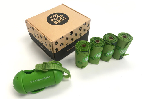 Four Rolls of 100% Compostable Eco Dog Poop Bags with Free Dispenser - Options for Eight or 12 Rolls
