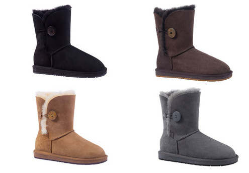 Auzland Unisex 'Cedar' Single Button Water-Resistant Australian Sheepskin 3/4 UGG Boots - Four Colours & Seven Sizes Available