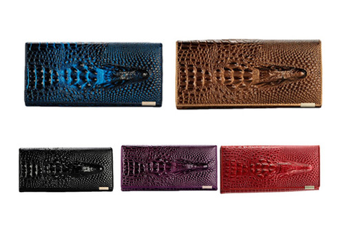 Genuine Leather Croc Style Wallet - Five Colours Available