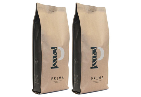 Two 1kg Bags of Prima Roastery Coffee in Compostable Packaging